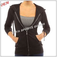 2016 New Design Black Solid Pocket Women Zip Up Hoodie Jacket Wholesale Custom Made Cheap Price
