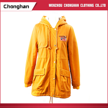 Chonghan Wholesale Price Yellow Colour Winter Lady Coats And Jackets
