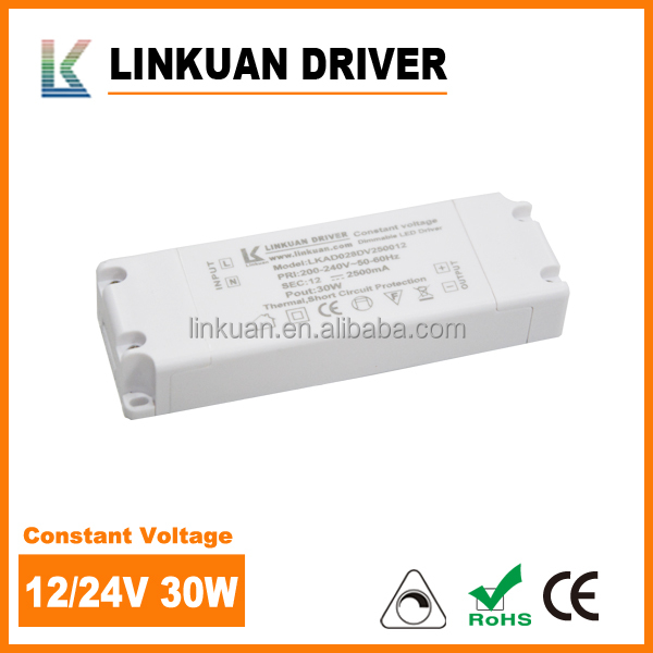 LKAD0028D dimmable LED strip light driver 2500mA 30W 220v 12v power supply with CE approval