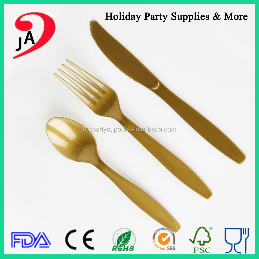 China Factory Top Quality Gold Disposable Plastic Fork Set Wholesale Restaurant Plastic Handle Cutlery