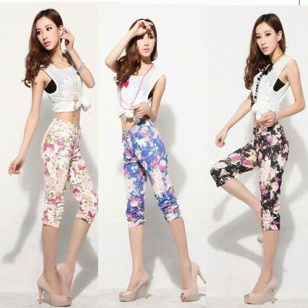New style fashion women capri jeans with printed flower and three colors(TW-545)