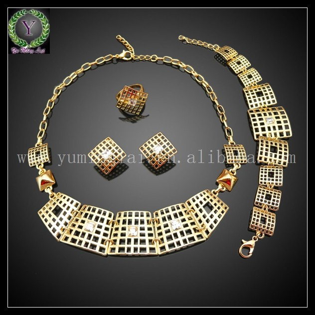 Fashion Design african jewelry set 18k gold plated ,gold cartouche jewelry ,african wedding jewelry