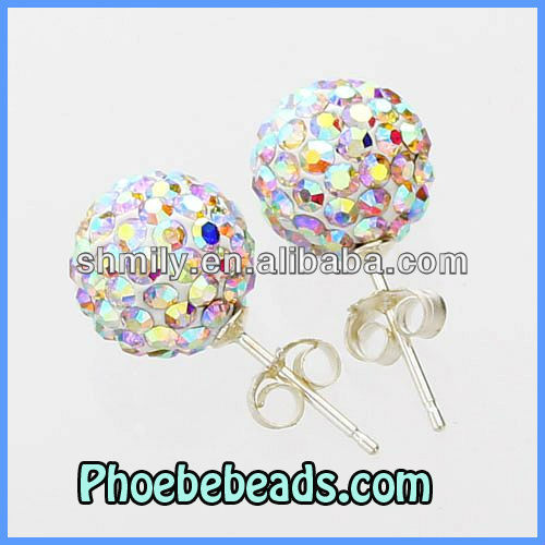 Wholesale Fashion Stud Stamped 925 Sterling Silver Earrings With Crystal AB Rhinestone Disco Ball SSCE013
