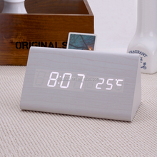 LED Despertador Wooden Alarm Clocks,Desktop Table Digital Watch LED Clocks Temperature Display