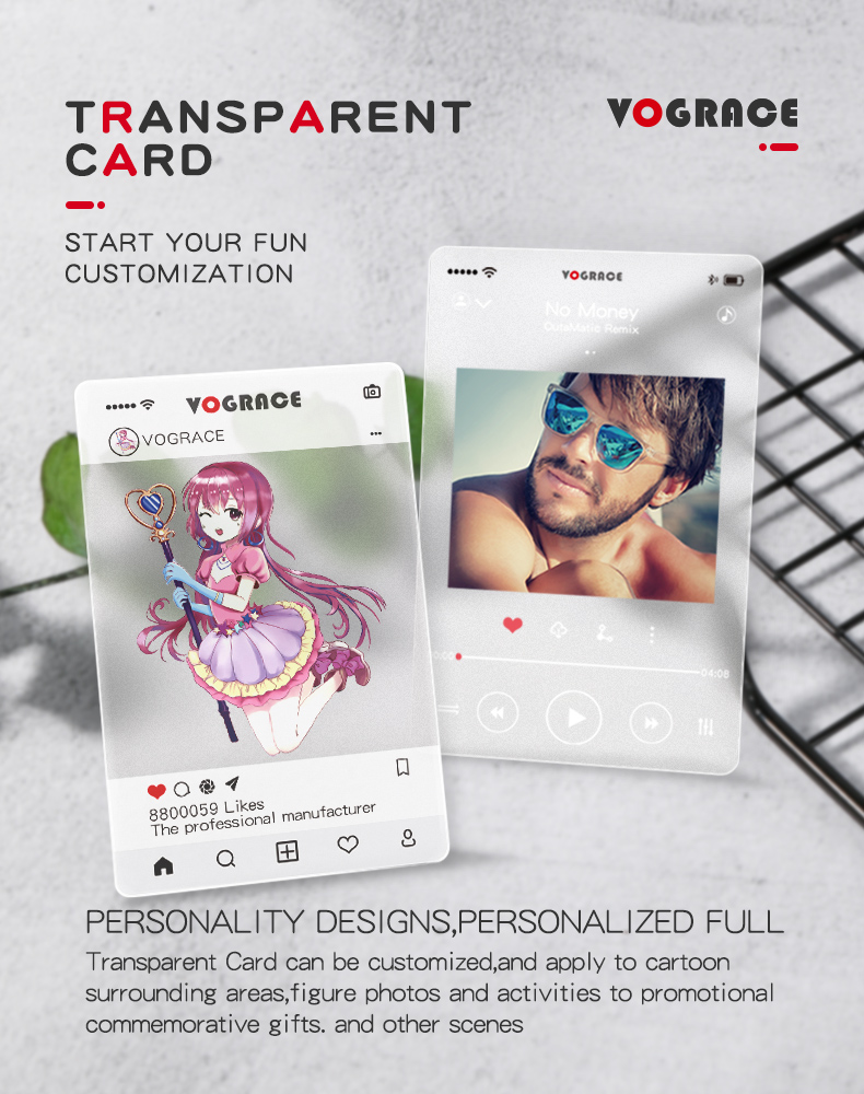 Hot sale VOGRACE cheap custom OEM cartoon anime transparent card printing plastic clear PVC business cards with your own design