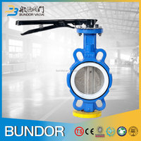 China supplier high performance casting ptfe seat handle operated wafer type butterfly valve