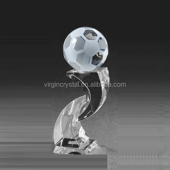 New unique design crystal glass trophy with globe football for customzied sports award