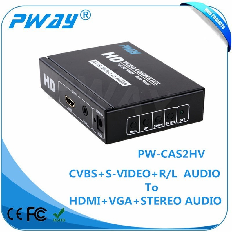 china electronic factory Pinwei PW-CAS2HV AV+S-VIDEO TO HDMI+VGA+Stereo converter
