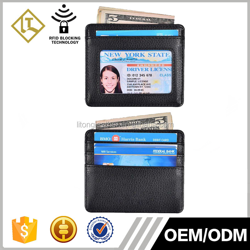 Custom RFID top grain leather smart card wallet with ID window