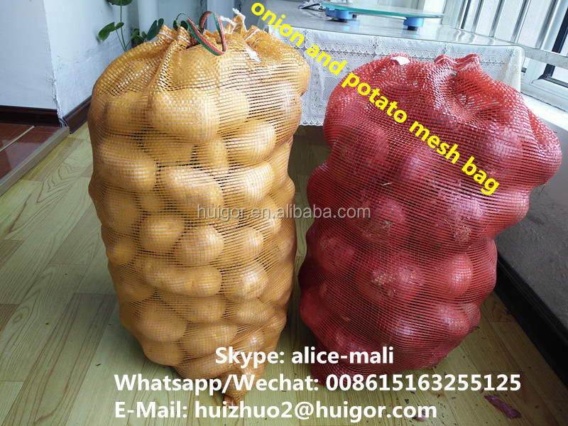 Fruit and vegetable PE mesh bag high quality for wholesale, net mesh fruit packaging bags