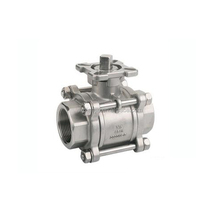 Stainless steel A351 CF8 CF8M 3pc ball valve /1000 wog Floating ball valve stem with ISO plate
