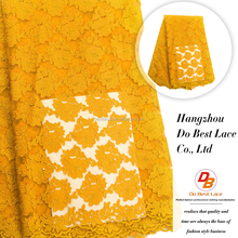 High quality custom african guipure orange colour net lace fabric