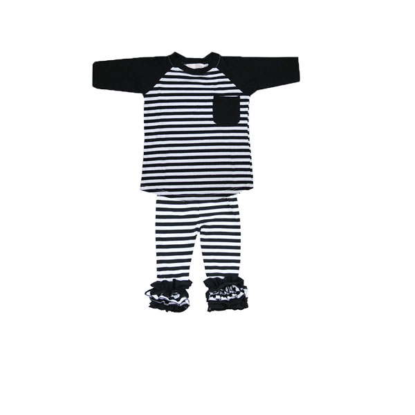 2017 Fall/winter sleeve black/white strip shirts and pants outfits easter boutique outfit carter's baby clothing