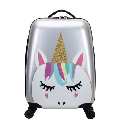 18inch Unicorn <strong>ABS</strong> Carry On Luggage Set Trolly Kids Suitcase