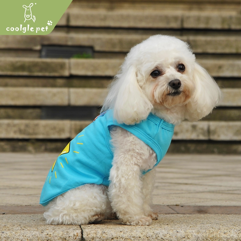 Simple Style Star Design Blue Summer Cat Vest Clothes for Pet Blank Dog Tshirt