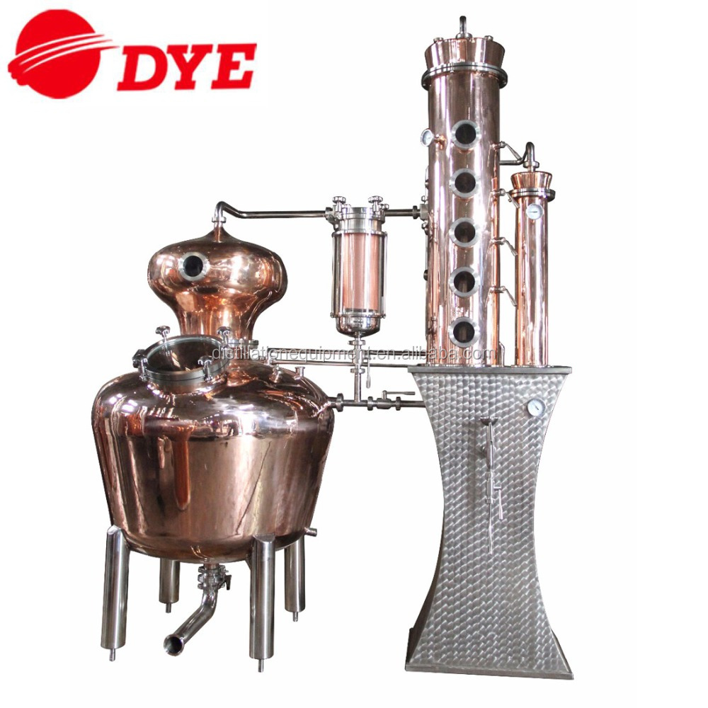 500L red copper alcohol distillation equipment with 4 plate distillation column for making whisky and gin