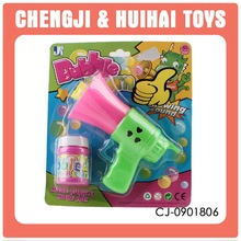 Attractive horn hubble-bubble toy with whistle friction bubble gun