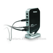 wireless usb 2.0 networking multi-function printer server with 4port usb hub