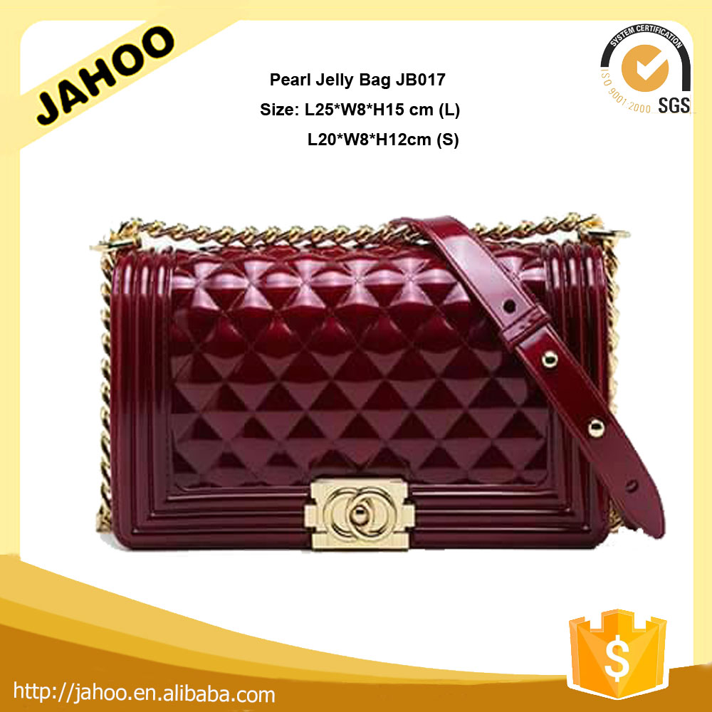 2016 Star Favourites Candy Color High Quality Hardware Red Wine Silicone Jelly Bag for Women