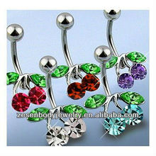 316L stainless steel cherry belly button ring piercing jewelry