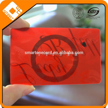 Custom printing and embossing transparent PVC samrt card with f08 chip