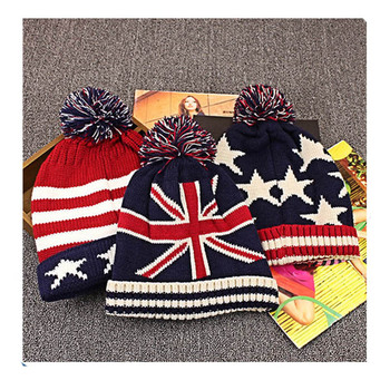 Cheap wholesale knit beanie with ball pompms custom sports beanies hat sport team knit beanie hats