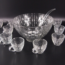 Vintage Large Glass Salad Punch Bowl Set With 12 Cups