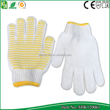 7 Gauge bleach white cotton gloves with PVC dots on one side, shenzhen working safety gloves