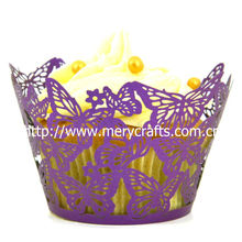 wedding laser cut purple butterfly cupcake wrappers butterfly design