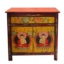Hand Painted Tibetan Curio Cabinet