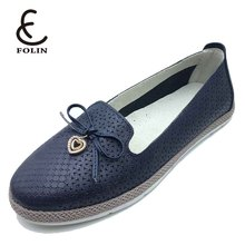 latest design genuine leather air holes women flat shoes for ladies