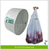 Meet Eu regulation ,compost home certified ,30% bio based, biodegradable T-shirt bag on rolls for fruits and vegetable
