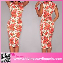 Ivory print Cut Out wedding dress factory Midi Dress lady clothing stocks