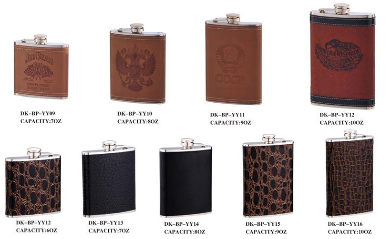 Hot sale novelty promotion products mini leather recycled stainless steel hip flask
