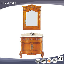 Frank online shop in china italy design makeup solid wood 32 inch bathroom cabinet vanity with glass basin