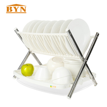 2 Layer Plastic Dish Drainer Collapsible X-type Stainless Steel Rack Plastic Kitchen Shelf