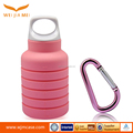 Alibaba Wholesale FDA BPA Free outdoor pocket water bottles Foldable Silicone Water Bottle with carabiner hook