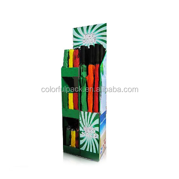 Promotion custom design cardboard umbrella display stand