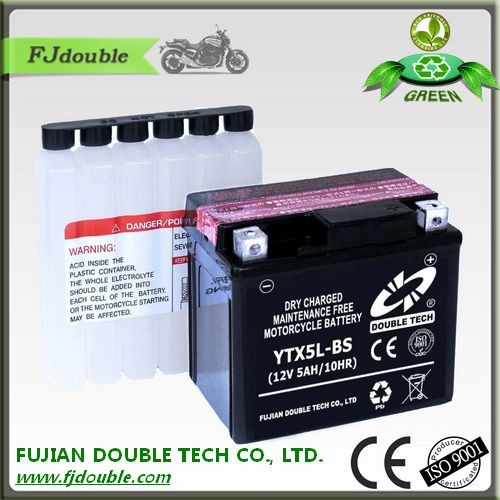Best quality YTX5L-BS 12V 5Ah Motorcycle Battery dry charge maintenance free battery