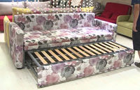 Wooden double bed frame with drawer