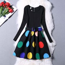 Winter Dress Girls 1016 Dresses Girl Clothes Printing Slim Round Neck Long-sleeved Dress Girl Clothes