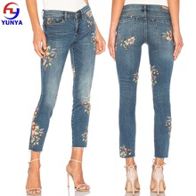 New floral embroidery design high quality women's jean back pocket pants
