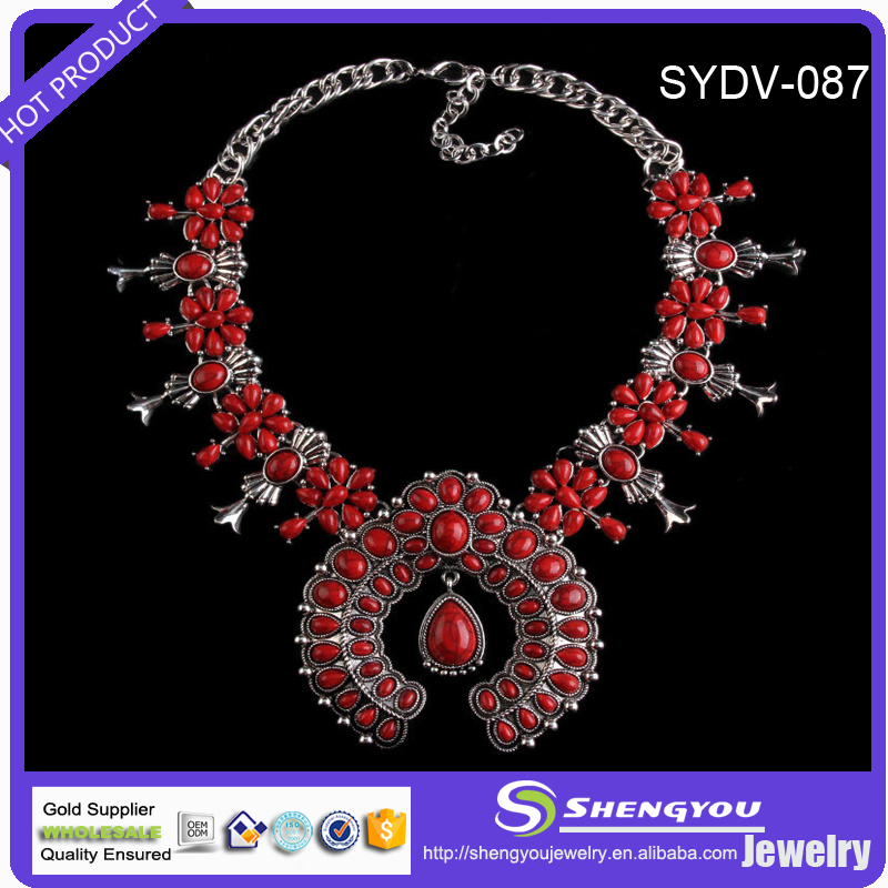 Fashion Cheapest Boho Jewelry Colorful Exaggerate Flower Shape Statement Necklace For Women