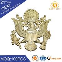 Wholesale custom blank eagle shape metal logo cap badge for clothes