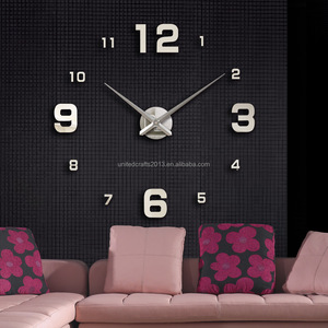 Wall Clock 3d Diy Large Home Art Decor Mirror Sticker Modern Surface Design