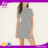 2016 Guangdong Shandao Factory Summer Hot Sale Casual Stripe Short Sleeve Fashion Slim Fit All Types Of Ladies Dresses