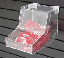 2016 new design wall mounted clear L shape acrylic cookies storage box for retail
