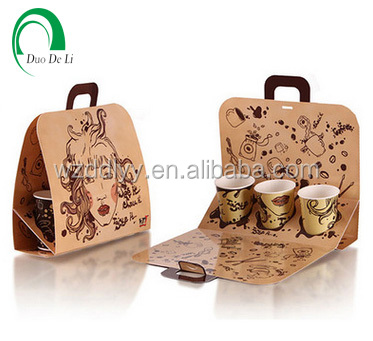 Wholesales colorful printed brown kraft paper bags for carrying drinks