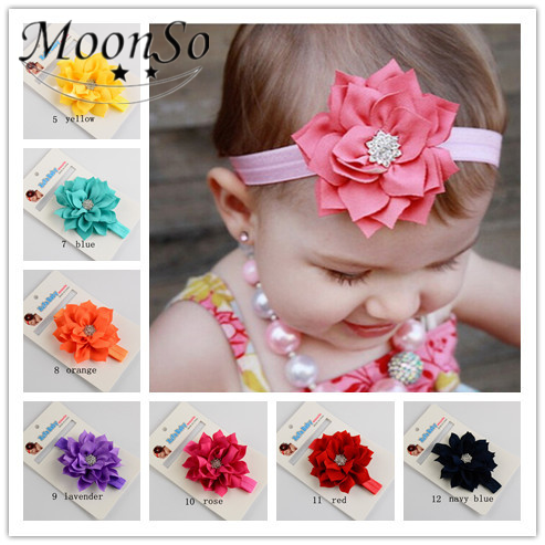 Wholesale new design Baby fabric rhinestone flower Hair Accessories elastic Headband Hair Band Jewelry MoonSo AH5740