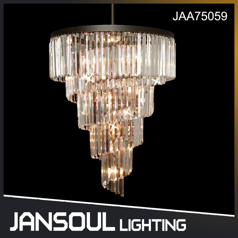 JANSOUL most popular swirl ring-type contemporary crystal chandelier light for hotel saloon